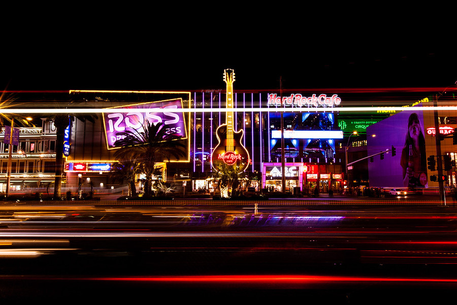 Hard Rock Cafe Las VegasNight photo of the Hard Rock Cafe on the stip in Vegas. Taken with a long shutter as the lights from a bus streaked across.