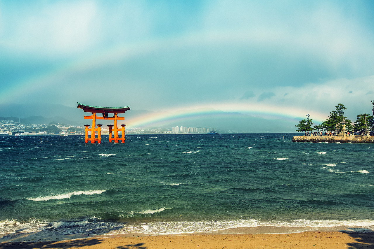 Double Rainbow at Miyajima Japan  They say the shrine was built in the water because the Japanese believed the island was a god. After seeing this I might be convinced.  See this photo at http://alikgriffin.com/blog/dec/13/double-rainbow-all-way