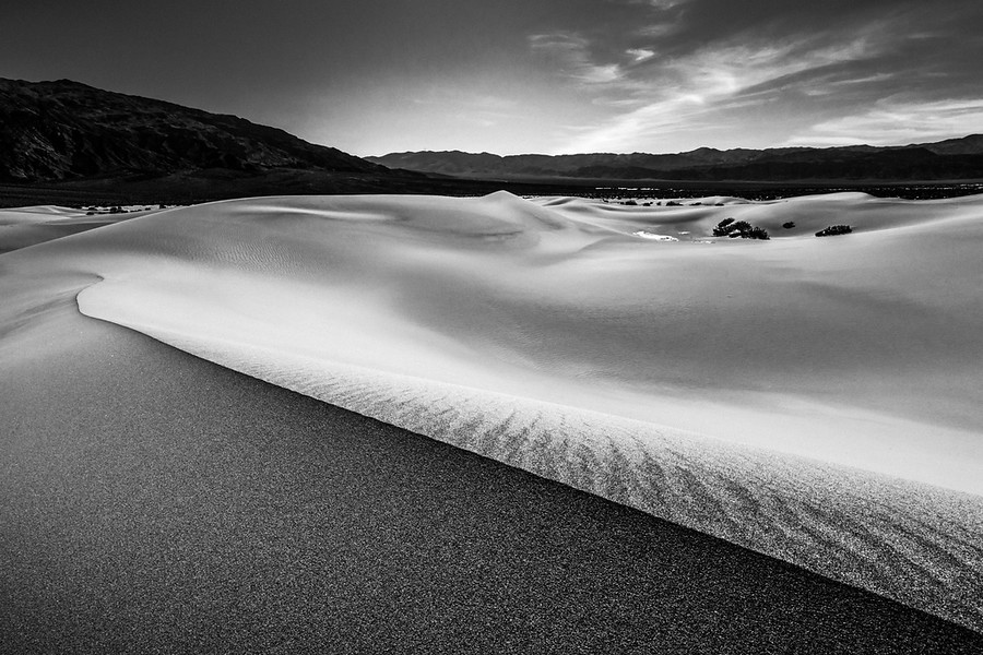 Mesquite Dunes of Death Valley in Black and White