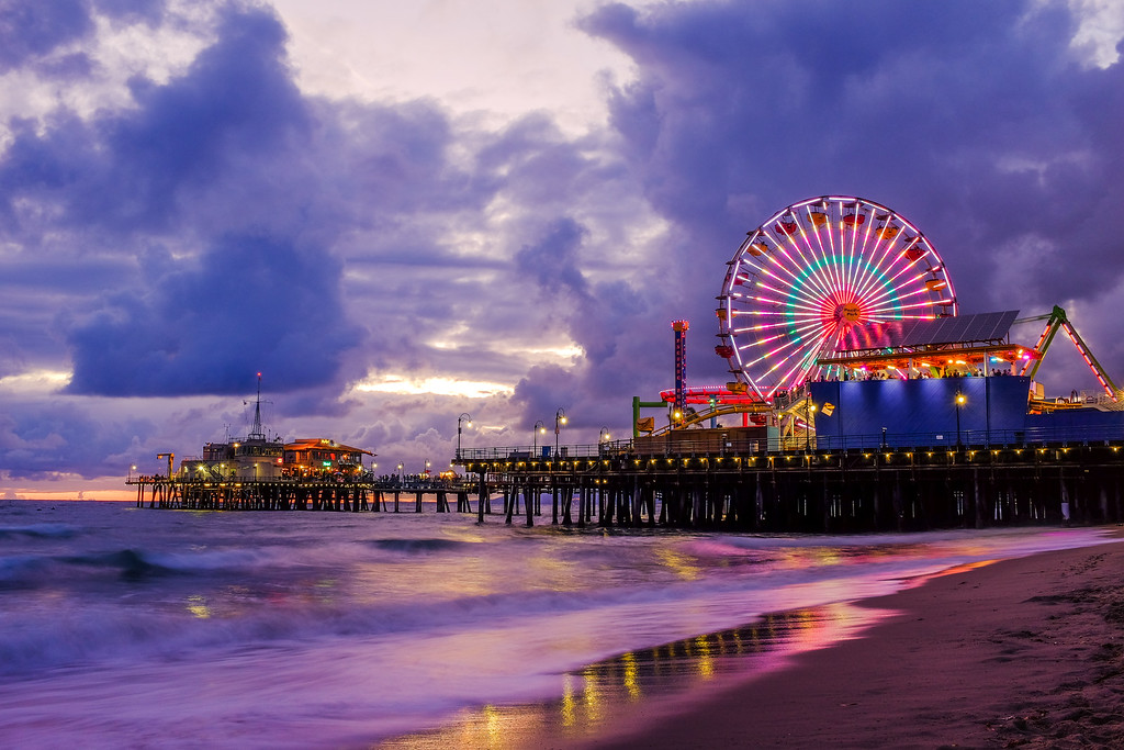 Santa Monica Pier just after sunset.
