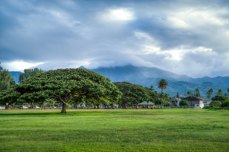 A beautiful park beneath the mountains of Oahu.